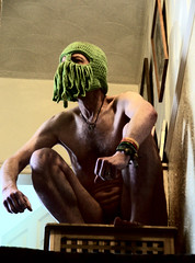 tentacular (outersquid) Tags: cthulhu mythos tentacles mask body embodied skin selfie naked nude man squat squatting