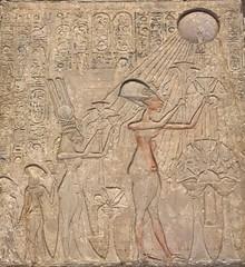 Akhenaten, Nefertiti, and Princesses worshiping the Aten (RocknRodV) Tags: museum egypt cairo museumofegyptianantiquities aten amarna nefertiti akhenaten