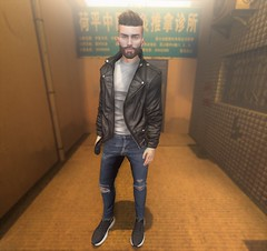 Bad Guy (EnviouSLAY) Tags: voz alley asian leather jacket black denim rippeddenim jeans ripped yellow facialhair facial hair brunette beard sneakers newreleases new releases skin clefdepeau clef de peau modulus kalback versov ascend magnificent mancave man cave equal10 tmd themensdepartment the mens department bento belleza jake lelutka guy mensmonthly mensfair mensfashion mensevent monthlymen monthlyfashion monthlyfair monthlyevent monthly fashion fair event pale male gay lgbt blogger secondlife second life photography letre