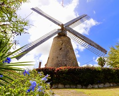 Working Sugar Cane Mill in Barbados (mikeginn12000) Tags: barbados sugarcane canon sky blue rum windmill clouds historic old