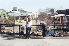 A little short to look over the fence into the koi pond (radargeek) Tags: film 35mm 2018 april okczoo oklahomacity oklahoma okc zoo childrenszoo mother daughter kid family