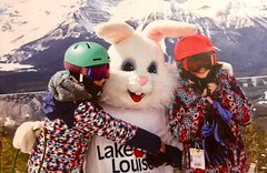 Big Big Easter Bunny Hugs... (Mr. Happy Face - Peace :)) Tags: unknow easter bunny hugs love outdoors skilodge lakelouise spring art2019 poster chuckle joy laughter funpic artificalzoo rabbit stranger