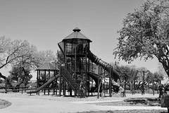 107/365 (lindaelizabeth) Tags: playground climbing play park horizontal blackandwhite monochrome childsplay tower trees ladder steps