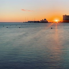 Muted sunrise (saebaryo) Tags: instagram ifttt sunrise travel mexico cancun vacation ocean water longexposure spectre sun seasideview seaside oceanview
