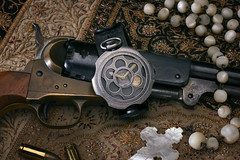_D3X5697 (an Artist Without Art) Tags: colt rosario bullets ancient western farwest rosary revolver handgun weapon navy 1860 nacre larrygelmini adv tambooro mondia