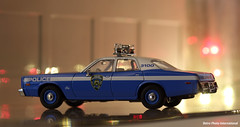 1:43 Scale NYPD 1975 Plymouth Fury Side View (Retro Photo International) Tags: diecast greenlight 143 plymouth fury nypd minolta 55mm 17 police car 1975