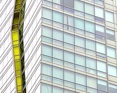 Yellow Stripe (Karen_Chappell) Tags: chicago travel building abstract architecture glass yellow windows city urban illinois usa downtown geometry geometric rectangle canonef24105mmf4lisusm