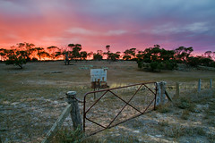 Tank and gate, Red Creek Road, Fleurieu Peninsula - South Australia (Trace Connolly Photography) Tags: australia colour color colourful outdoor outdoors outside eos canon sunlight exposure flickr landscape earth environment sunrise contrast red green yellow blue black white scene scenery cloud clouds sky scenic weather holiday view country countryside orange purple pink building architecture stone brick buildings southaustralia