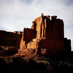 Rock Formation (Robert_Brown [bracketed]) Tags: robertbrown photography silvercityphotographer thesilvercityphotographer archesnationalpark arches park desert color photograph photo rock formation monumental red sunrise arid spring instagram cellphone samsungs8 s8 squareformat square