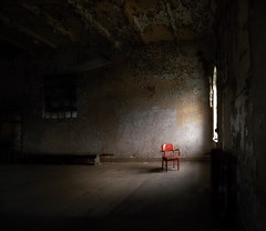 The Empty Chair (Dan Fleury Photos) Tags: dark chair red redchair prison cell jail reformatory mansfield ohio usa us shawshank incarcerated light lowkey black window filtered
