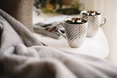 two silver mugs on white side table - Credit to https://myfriendscoffee.com/ (John Beans) Tags: coffee cafe coffeebeans shopbeans espresso coffeecup cup drink cappucino latte