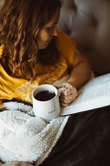 woman reading book while holding mug of coffee - Credit to https://myfriendscoffee.com/ (John Beans) Tags: coffee cafe coffeebeans shopbeans espresso coffeecup cup drink cappucino latte