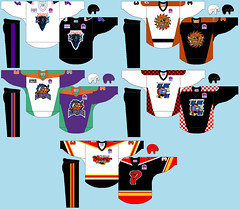 central1995 (BranMan32) Tags: rhi roller hockey international nhl inline 1990s 90s ccm jersey logo anaheim bullfrogs rob laurie sport court jofa buffalo sabres chicago cheetahs detroit motor city mustangs minnesota blue ox st louis vipers usa america canada stampede
