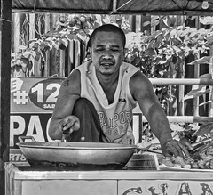 The Chef (Beegee49) Tags: street people man cooking food chicken monochrome black white bw sony bacolod a6000 city philippines asia