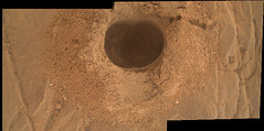 Panorama of a Martian Hole (sjrankin) Tags: 19april2019 edited nasa mars msl curiosity galecrater hole drilled debris sand rock dust clay layers panorama closeup