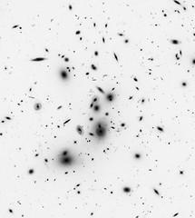 Abell 2744, variant (sjrankin) Tags: 19april2019 edited nasa hst hubblespacetelescope esa europeanspaceagency galaxy galaxies galaxycluster grayscale