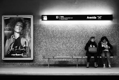 """""""Yes I Am"""" (Roi.C) Tags: monochrome black white bw people outside outdoor candid ligh europe nikon d5300 nikkor photography photo digital shot street city face sitting composition human humans persons picture town urban image camera interesting 18140mm blackandwhite talking portugal 2018 trainstation portrait women"""
