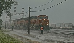 UP CHESTER SUB @ DUPO HEAVY DOWNPOUR (railbar2014) Tags: chestersub dupoyard railyards mainlineusa crossingover storms heavyrains springstorms aroundtheclock outdoorwork 247 northbound uprr bnsfrailway safety switches rails