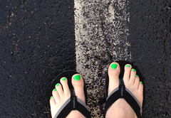 GR33N (devistating) Tags: men man feet foot painted nails toes green sandals