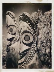 Dr. Praetorius Brought Back Images Of The Village (MPnormaleye) Tags: idols drums faces vanuatu wooden museum exhibit musical instruments instax film snapshot utata:project=tw678