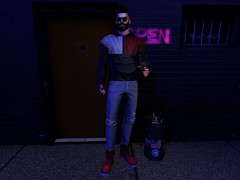 #31 Day and Night (☠ MAD WARBLOOD) Tags: tiller jacket represent boots modulus hair zoom sunglasses kalback jean ripped hxnor bag ro headphones sl fashion blog mad men secondlife sexy hot rings bands day night drink ketchup dappa tattoo