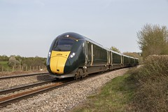 Flying 'Cucumber': Class 800 IET unit 800035 at St Georges, Cardiff (Dai Lygad) Tags: spring 2019 easter goodfriday april class800 intercityexpresstrain iet 800035 gwr greatwesternrailway stgeorges cardiff wales uk sunny newporttoswansea flickr stock flickrstock photos photographs images pictures trains railways