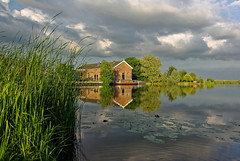 Boathouse (Tjaldur66) Tags: canal water reflection clouds boathouse travel outdoor tranquility reed landscape scenery holland netherlands kinderdijk