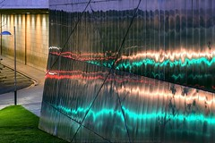Cladding Lights (Jacques aka Faceblind) Tags: cladding reflections dusk twilightbilbao bilbo art contemporaryart bilbaoart biscay bizkaia vizcaya biscaye basquecountry euskadi paísvasco paysbasque deselliers jacquesdeselliers