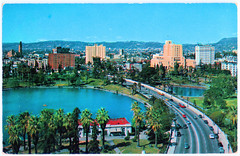 Los Angeles - Wilshire Boulevard (pepandtim) Tags: postcard old early nostalgia nostalgic los angeles wilshire boulevard plastichrome series colourpicture boston massachusetts mitock sons california george watson macarthur park heart 89law32