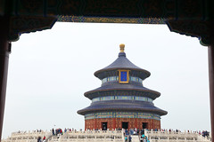 Temple of Heaven, Beijing, China (Thierry Hoppe) Tags: beijing temple heaven frame framed templeofheaven circular mound altar door archtecture classic old wood wooden round grey overcast