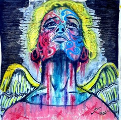 Angelus (franck.sastre) Tags: angel art colors miradas painting picture yellow alas exhibition