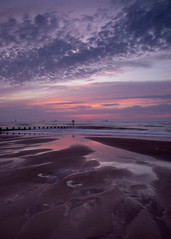 05:41 at the beach (PeskyMesky) Tags: aberdeen aberdeenbeach sunrise sunset water scotland sea ocean sand red sky cloud canon canon5d eos