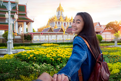 Thai lover travel in Bangkok city (anekphoto) Tags: wat bangkok temple thailand castle loha thai metal art prasat sky travel architecture tourism culture ancient asian asia religion landmark famous buddhism buddha background lady woman girl love honeymoon sweet lover old building gold tourist golden ratchanatdaram city tour grand monastery landscape women relax holiday history iron palace buildings guide