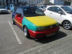 1995 VW Golf Convertible (occama) Tags: yil4447 1995 vw golf harliquin convertible volkswagen multicoloured old car cornwall uk sun sunny warm sports