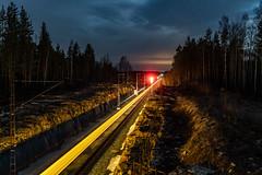 Night train (Arttu Uusitalo) Tags: long exposure train track railway railroad southern ostrobothnia ylivalli finland spring night nightscape sky cloudy sony a6500