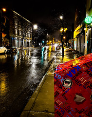 Rainy night on Rue Notre-Dame 1  (Montreal) (MassiveKontent) Tags: nightshot city cityscape cityatnight streetphotography montreal bw contrast urban montréal quebec canada silhouette streetlight metropolis color road night reflections building people car streetphoto shadows street metropolitan lights rain sign saturated saturation glow noir
