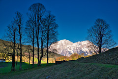Tree-and-mountain composition (echumachenco) Tags: tree light shadow silhouette trunk nranch stem twig mountain mountainside peak rock snow sky blue evening april grass slope trail hohergöll hohesbrett berchtesgadenerland berchtesgadeneralpen alps outdoor landscape serene bavaria bayern germany deutschland nikond3100 spring