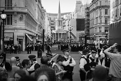 Protestors on Oxford Street, London, UK (KSAG Photography) Tags: april 2019 protest police london uk england europe britain unitedkingdom blackandwhite monochrome city urban street streetphotography nikon people capital