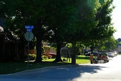 Morning Crew (Gene Ellison) Tags: street neighborhood yards trees lawncrew cars sunstars photography fujifilm velvia