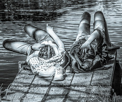 Chillin' (+Pattycake+) Tags: streetphotography chilling summer lumixdmcgm1 eastanglia candid 43 relaxing couple blackandwhite uea lake mirrorless norfolk broad