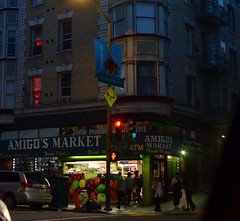 Bodega Beat (MPnormaleye) Tags: store shoppe groceries produce night bodega awning sign neon reflection square utata 24mm city neighborhood moody