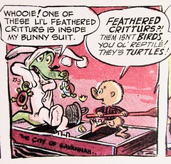 Easter Bunny Albert Alligator and Pogo 6565 (Brechtbug) Tags: easter bunny albert alligator pogo possum by cartoonist walt kelly cartoon vintage 1960s 60s newspaper comic strip comics sunday funnies comicstrip opossum animal humor funny beast fable political satire witty southern okefenokee swamp critters south holiday halloween 1962 screengrab screen grab