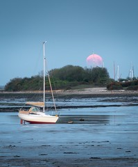 Pink Moon Rising Over Langstone Harbour, Hampshire, U.K. (Andrew J Hulson) Tags: harbour britain solar moon landscapes seascapes zeiss55mm18 sonya7r2 sony portsmouth april easter england hampshire solent pinkmoon yachts langstoneharbour