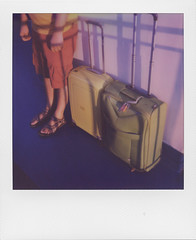 The traveling traveler (ale2000) Tags: polaroid analog analogue instant instantphotography i1 impossible 600 square frame polaroidweek roidweekspring2019 bags valige green verde sandals sandali estate summer traveler viaggiatore traveling vacations vacanze leisure nave