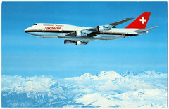 Swissair - Boeing 747-357 Prior to 1999. And the 747's Safety Record. (pepandtim) Tags: postcard old early nostalgia nostalgic swissair boeing 747 printed switzerland engadin press wing span length height cruising speed passenger seats 49sws99 1983 1999 northwest airlines freighter mojave desert