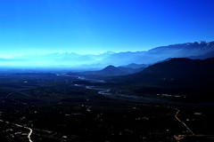 Climb higher...Touch the top... (born to be an artist) Tags: view blue sky breathtaking mountains horizon river mist greece fields roads topoftheworld beautifulphotography landscape mountainpeaks