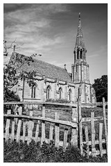 Church of St Leonard, Charlecote (Photography And All That) Tags: charlecotepark charlecote park church churches spire spires stleonardschurchcharlecote stleonard blackwhite blackandwhite buildings building monochrome monochromatic monochromes sony sonyalpha7mark3 sonyalpha sonyilce7m3 sky architecture fence fences rickety old lucy lucyfamily 15thcentury victorian rebuilt atmosphere atmospheric tower angle religious religion christian johngibson nationaltrust afternoon warwickshire stratforduponavon stratford spring sunny angles patterns pov pointofview asymmetry crooked ramshackle
