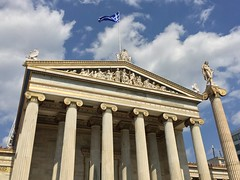 A Touchdown in Athens (Alles Klaar) Tags: reallife athens building clouds columns flag greece sky statue