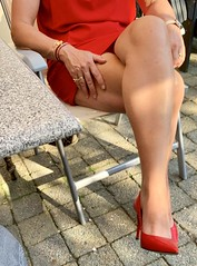 MyLeggyLady (MyLeggyLady) Tags: panties cleavage upskirt hotwife sex milf sexy secretary teasing crossed cfm stiletto toe thighs leather red pumps legs heels