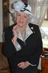 Pondering--How Will This Outfit Go Over On Easter Sunday? (Laurette Victoria) Tags: suit hat silver easter laurette woman